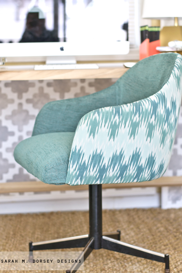 This Ikat Chevron And Grayish Turquoise Chenille In The Remnant Section Sorry No Markings Or Tags On Fabric If Anyone Knows Let Me Know