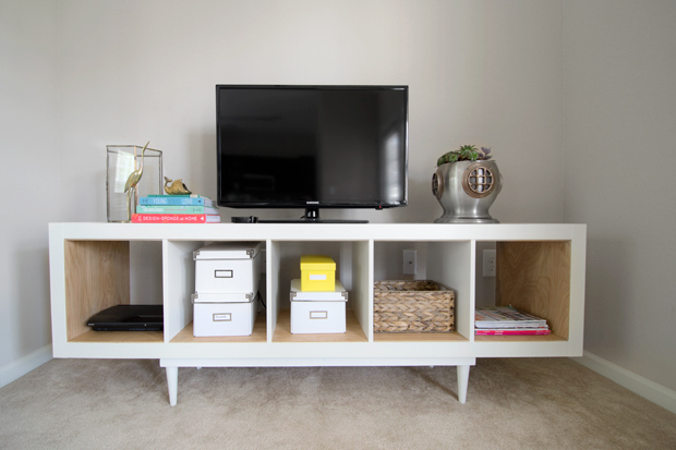Ikea Expedit TV Stand with Birch Plywood - Dorsey Designs